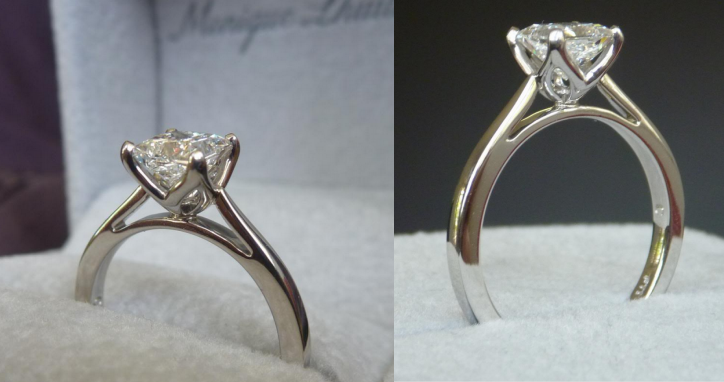 Monique Lhuillier solitaire cathedral engagement ring