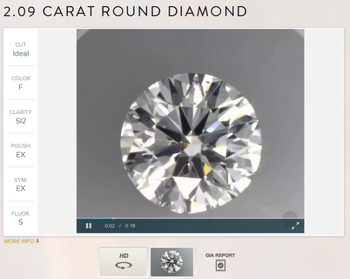2.09ct F SI2 GIA Excellent