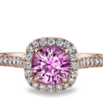 Omi Prive Pink Sapphire and Diamond Cushion Halo Ring