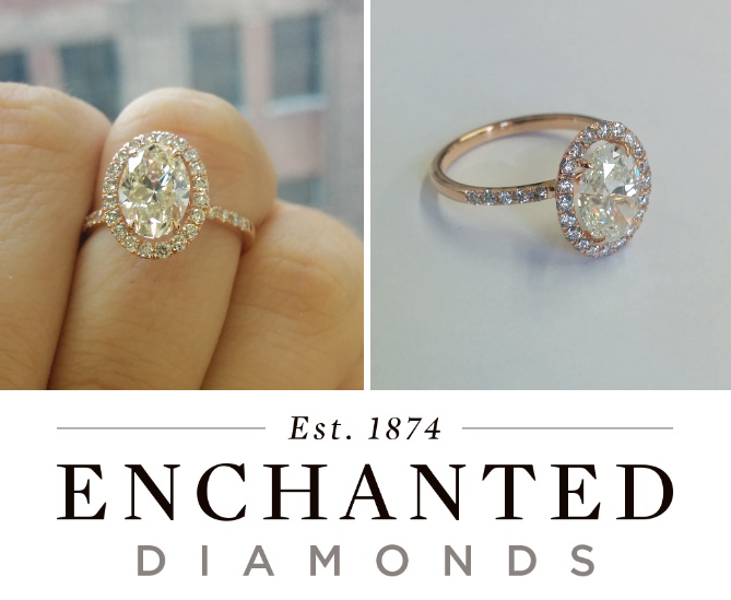 Enchanted Diamonds Oval 'J' with Rose Gold