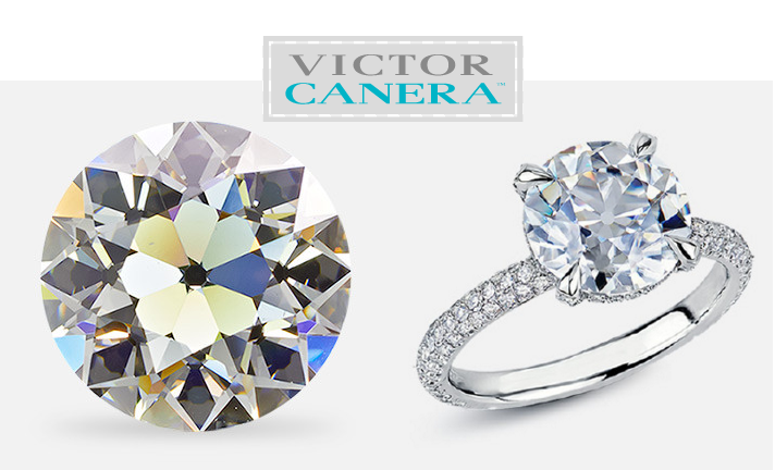 Victor Canera Old European Cut Diamond Solitaire in multi-row pave