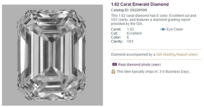 1.62ct E VS1 Emerald Cut Zoara