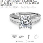 Asscher Cathedral Engagement Ring Platinum