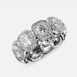 Cushion Halo Eternity Band