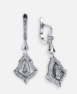 Kite Shaped Pave Dangling Earrings