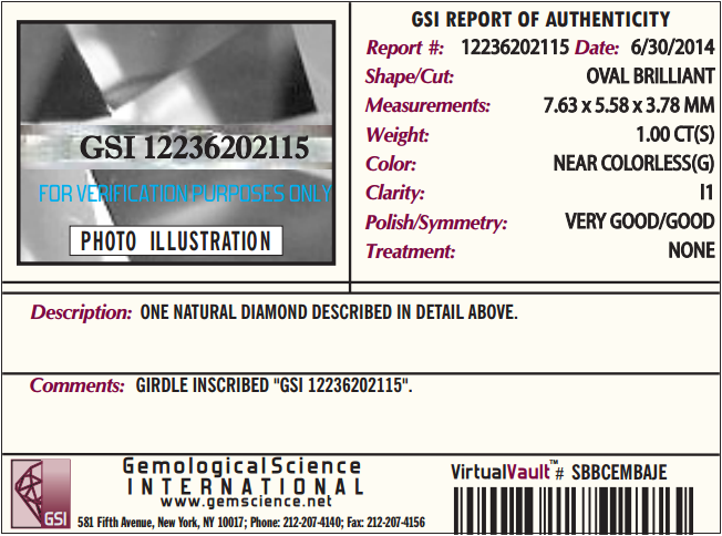 Jared Jewelers GSI report of authenticity