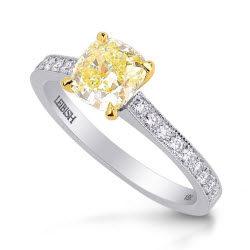fancy-yellow-cushion-diamond-pave-milgrain-ring