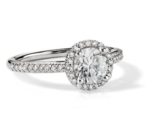 Blue Nile halo engagement ring
