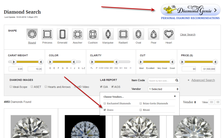 diamond carat wholesale inventory search sub plus