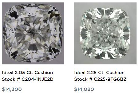 2 carat cushion cut diamonds