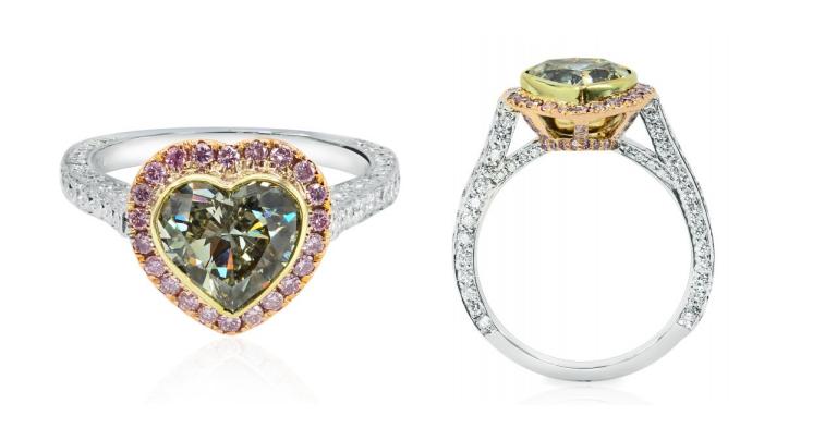 3.01ct natural Fancy greyish yellowish Green Heart shape diamond