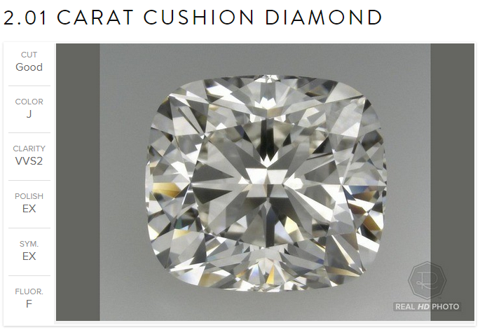 2.01ct cushion Ritani