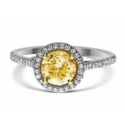 Fancy Light to Fancy Yellow Round 1.14ct Diamond Ring