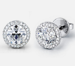 Halo Stud Earrings with CER Diamonds