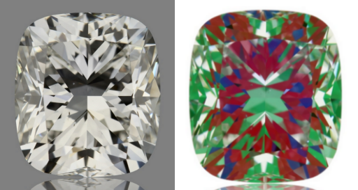 cushion cut diamond picture with ASET image